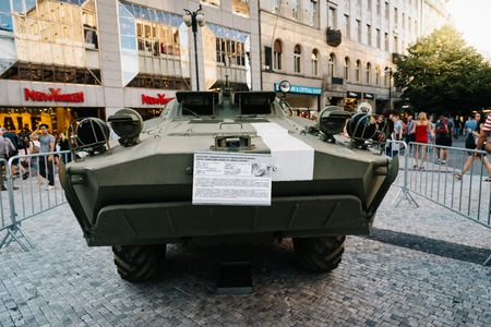 Prague,  Czech Republic - August 18, 2017: Old Soviet tank in exhibition in Wenceslas Square about Prague Spring and Soviet Union invasion Editorial