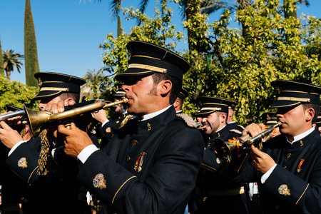 Music band in Easter procession in Cordoba. Editorial