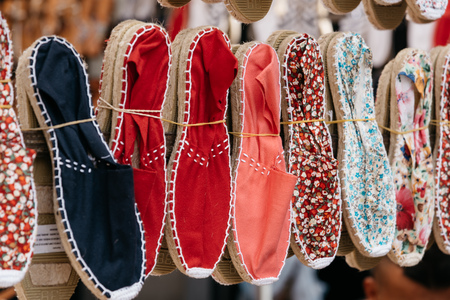 Colorful handmade rope soled sandals or espadrilles in market st