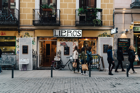 Bookstore in Malasana district in Madrid