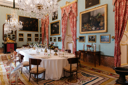 Decorate dinning room of Royal Palace of Riofrio in Segovia