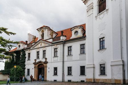 Prague, Czech Republic - August 20, 2017: Strahov Monastery against cloudy sky Editorial
