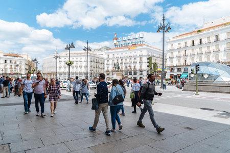Puerta del Sol Square in Madrid Editorial