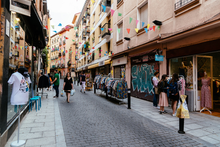 View of flea market in Lavapies Quarter in Madrid