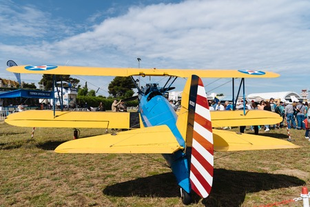 Boeing Stearman Kaydet aircraft during Air Show Editorial