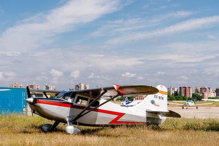 Stinson 108 Voyager BTK aircraft during air show Editorial
