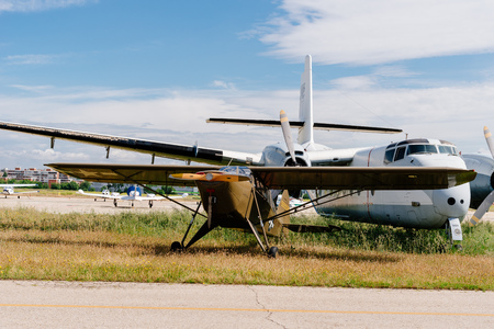Madrid, Spain - June 3, 2018: Piper L-14 Army Cruiser aircraft during air show of historic aircraft collection in Cuatro Vientos airport