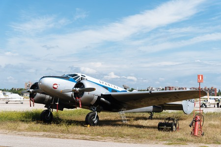 Madrid, Spain - June 3, 2018: Beechcraft C-45 from 1937 aircraft during air show of historic aircraft collection in Cuatro Vientos airport