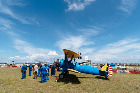 Madrid, Spain - June 3, 2018:  Boeing Stearman Kaydet - FNM 1933 during air show of historic aircraft collection in Cuatro Vientos airport