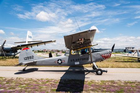 Cessna L-19 Bird Dog aircraft during air show Editorial