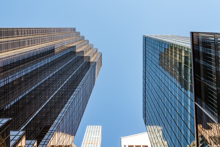 Low angle view of skyscrapers against sky in New York City