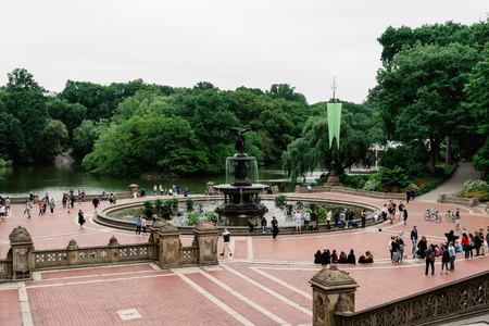 Bethesda Terrace and Fountain in Central Park in New York