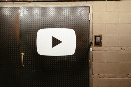 Entrance to Youtube office  in Chelsea Market Editorial