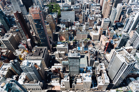 Aerial view of rooftops of Midwtown of Manhattan in New York