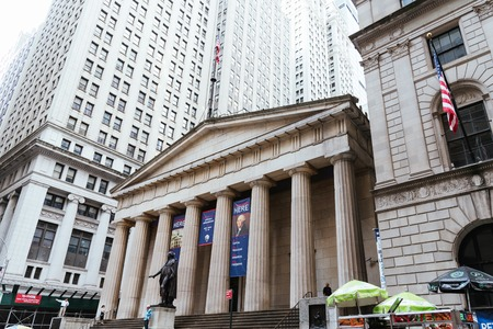 Low angle view of  Federal Hall National Memorial building in Ne