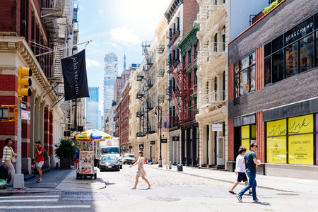 Typical street in Soho in New York Editorial