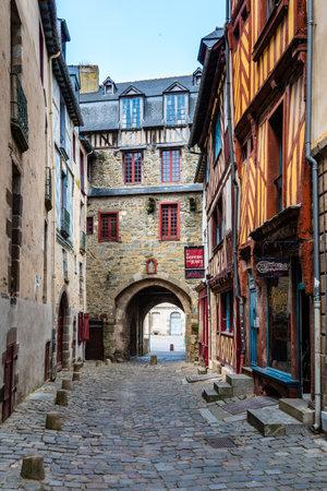 Cobblestoned street in historic centre of Rennes