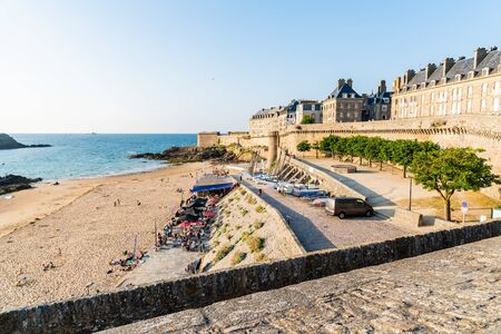 Scenic view of the beach and walled city of Saint Malo
