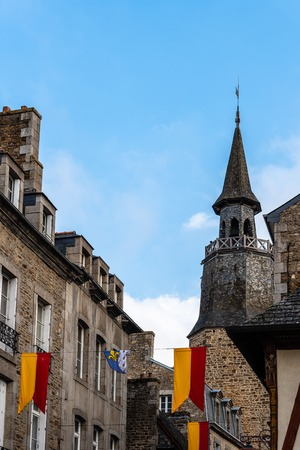 Low angle view of old tower in Dinan against sky 版權商用圖片