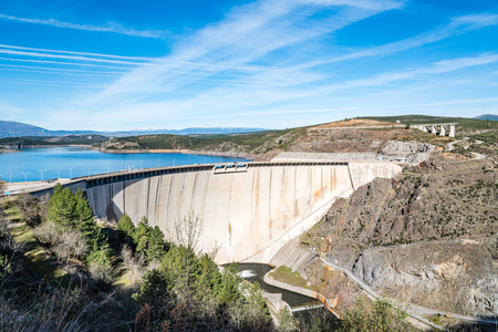 The Atazar reservoir and dam in Madrid
