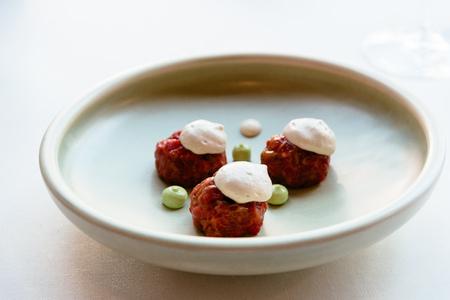 Beautiful decorated dish of international fusion cuisine