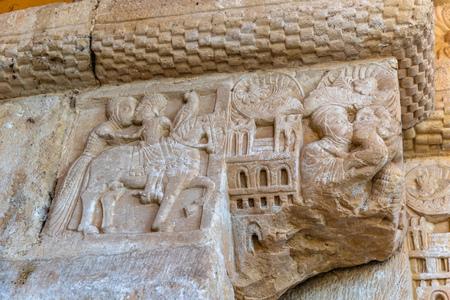 Romanesque capital in the facade of a chuch