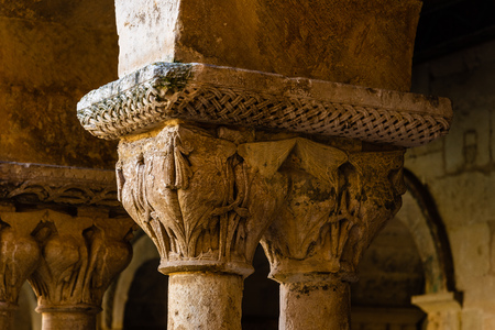 Close up of a capital of romanesque architecture