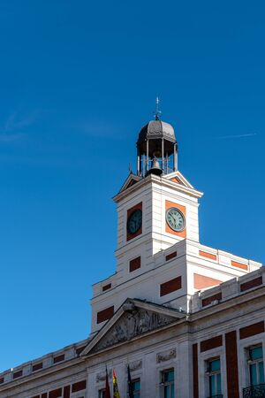 The clock and bell in Puerta del Sol in Madrid