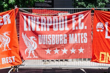 Liverpool fans at the UEFA Champions League Final in Madrid Stock Photo - 128355694