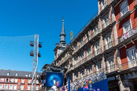 Football field in Plaza Mayor during UEFA Champions League Final in Madrid