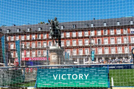 Victory banner in football field in Plaza Mayor during UEFA Champions League Final in Madrid Editorial