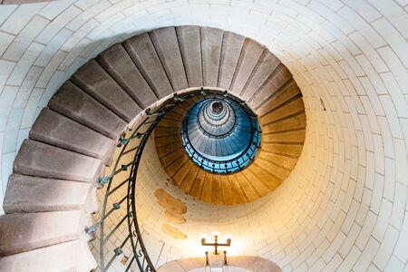 Spiral staircase in Eckmuhl Lighthouse in Brittany 報道画像