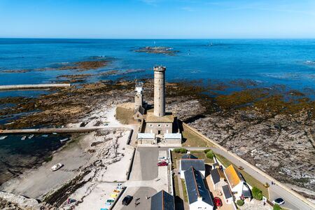 Eckmuhl Lighthouse in Brittany, high angle view 報道画像