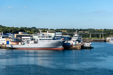 Military harbour in Concarneau a sunny day of summer 報道画像