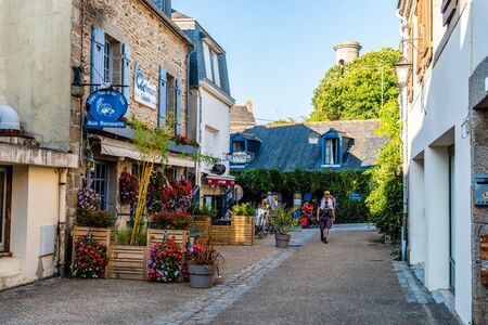 Picturesque street in the medieval town of Concarneau