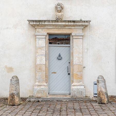 Old wooden closed door in luxury house