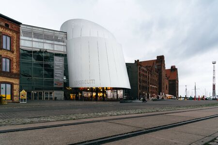 The harbour and the Ozeaneum museum in Stralsund