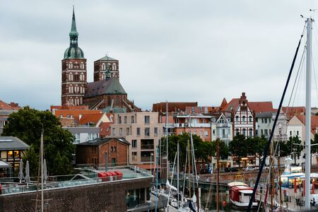 The harbour of Stralsund with boats moored