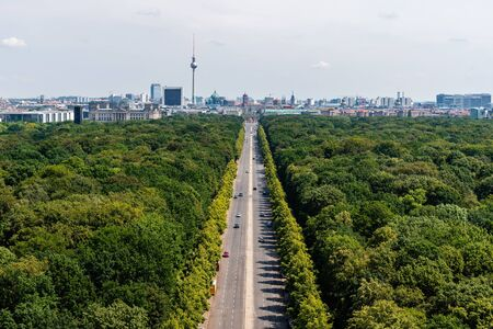Aerial view of Tiergarten Park and main landmarks of city of Berlin, Germany