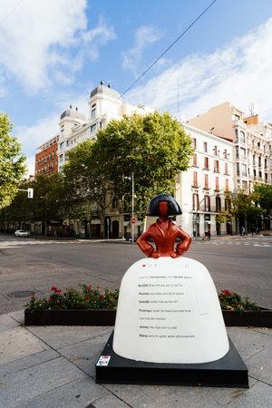 Menina of Velazquez sculpture at corner in Serrano Street in Madrid
