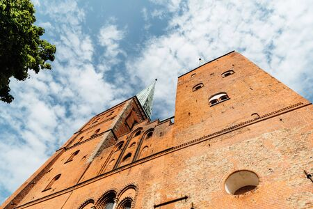 Low angle view of the towers of the Cathedral of Lubeck