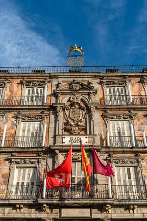 Scenic view of Plaza Mayor Square in historic centre of Madrid