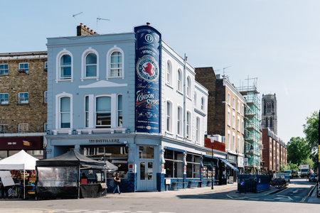 View of Portobello Market in Notting Hill, London