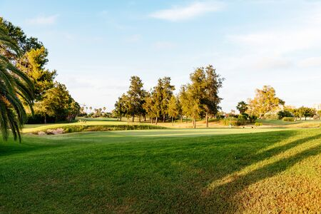 View of Golf Course with putting green in Valencia, Spain. Golf course with a rich green turf