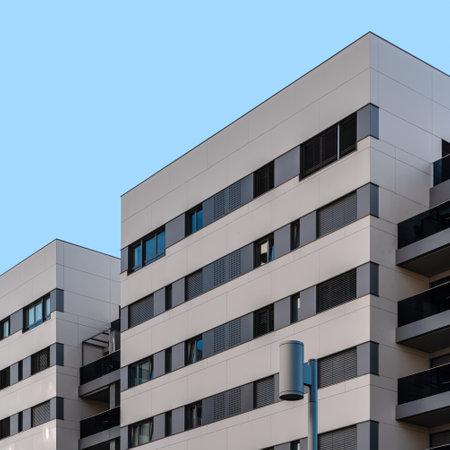 Modern residential building against blue sky in Madrid