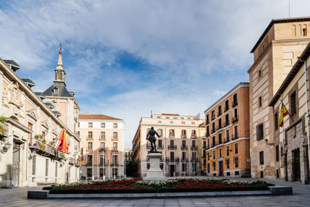 View of the empty Plaza de la Villa Square without people in Madrid