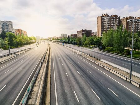 Empty M30 Highway in Madrid during COVID-19 pandemic outbreak and quarantine