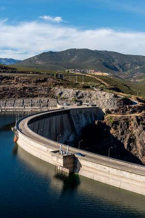 The Atazar reservoir and dam in Madrid Stock fotó