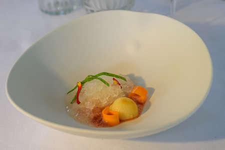 Beautiful decorated dish of international fusion cuisine 写真素材