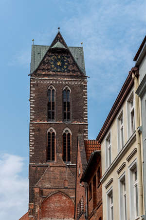Tower of St Mary Church in historic centre of Wismar